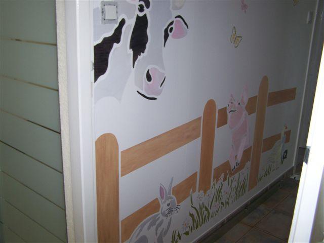 pochoir mural vache barrière