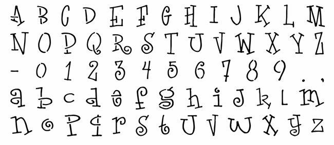 Alph303 alphabet sympa lettres rigolotes pochoir