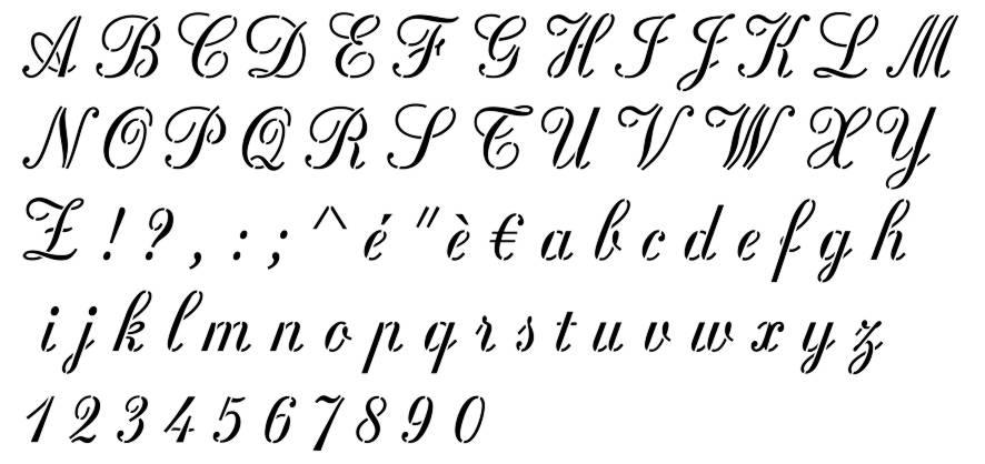 Alphabet rosa stencilp
