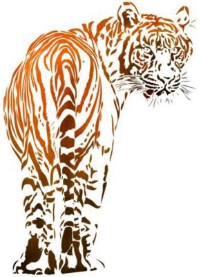 An1291 tigre pochoir a peindre orange