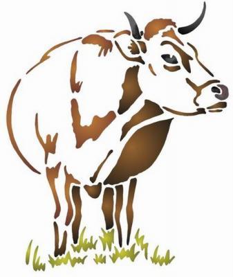 Anisp010 pochoir vache brune style pochoir