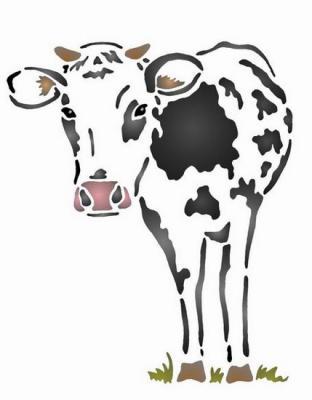 Anisp011 pochoir vache noire et blanche style pochoir