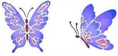 Anisp024 pochoir 2 papillons mauves style pochoir