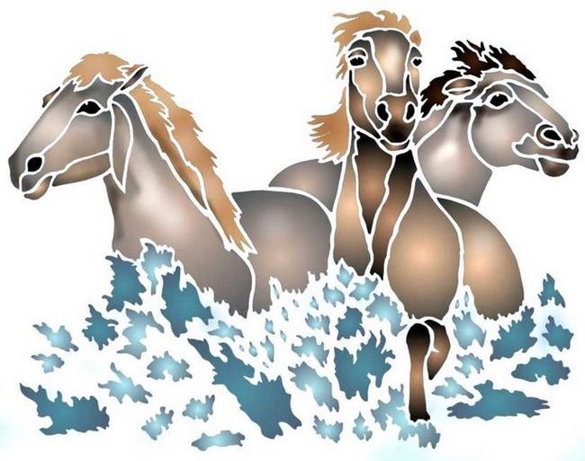 Anisp060 pochoir 3 chevaux de camargue style pochoir