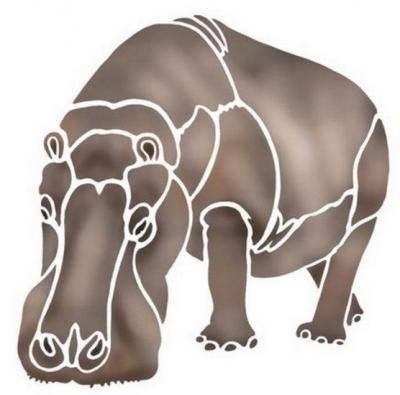 Anisp066 pochoir hippopotame style pochoir