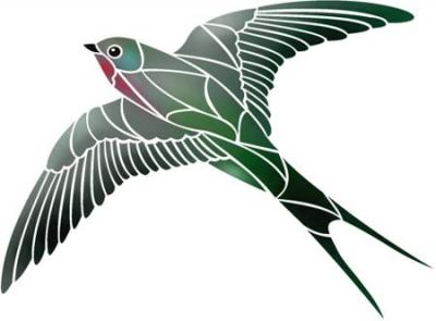 Anisp0665 pochoir hirondelle oiseau style pochoir