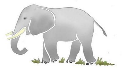 Anisp067 pochoir elephant 2 style pochoir