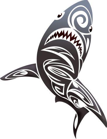 Anisp0695 pochoir requin stylise style pochoir