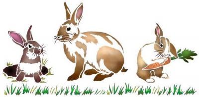 Anisp074 pochoir 3 lapins style pochoir