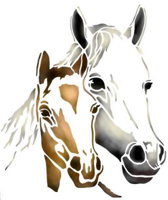 Anisp084 pochoir cheval et poulain style pochoir
