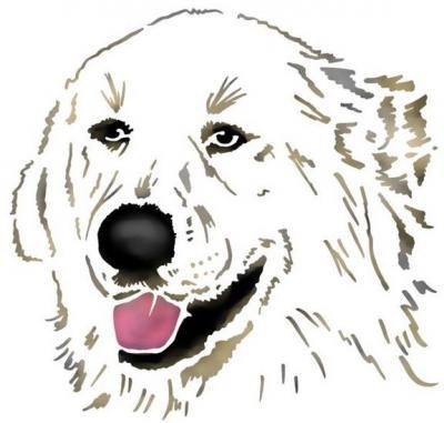 Anisp085 pochoir chien blanc style pochoir