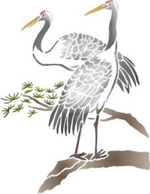 Anisp090 pochoir herons sur branche style pochoir