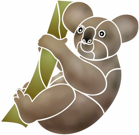 Anisp090 pochoir koala sur branche style pochoir