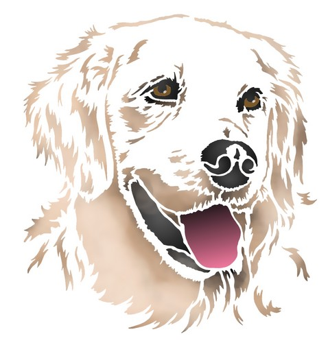 Anisp095 pochoir chien blanc 4 style pochoir