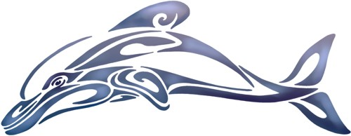 Anisp348 pochoir dauphin tribal design style pochoir
