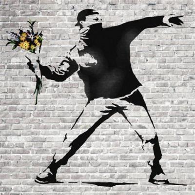 Banksy street art jeteur de fleurs small