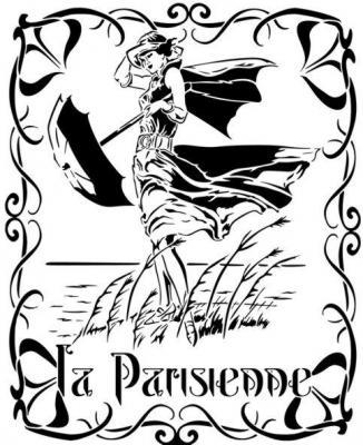 D1287 la parisienne femme art deco vintage pochoir