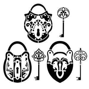 D54548 pochoir clefs et serrures mon artisane style pochoir