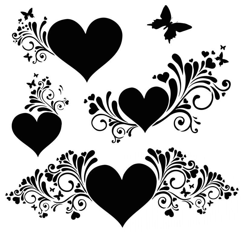 D86869 coeurs de princesse pochoir volutes papillons et coeurs