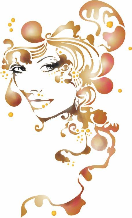 Div10005 portrait de femme style oriental pochoir a peindre style pochoir mon artisane fabrication francaise