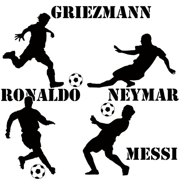 Enf87547 pochoir footballeurs equipe de france messi ronaldo neymar griezman pochoir mural a peindre