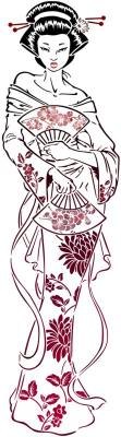 Fem6832 geisha femme chinoise japonaise pochoir style pochoir cpp