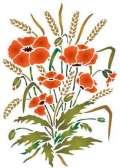 Fl001 pochoir bouquet ble et coquelicots style pochoir 1