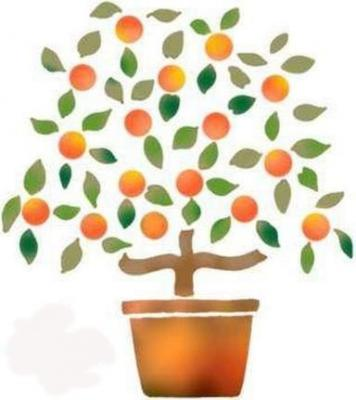 Fl005 pochoir petit oranger style pochoir