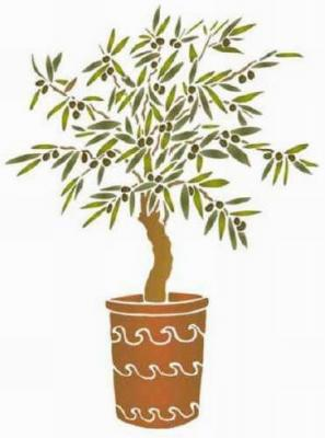 Fl044 pochoir olivier en pot style pochoir