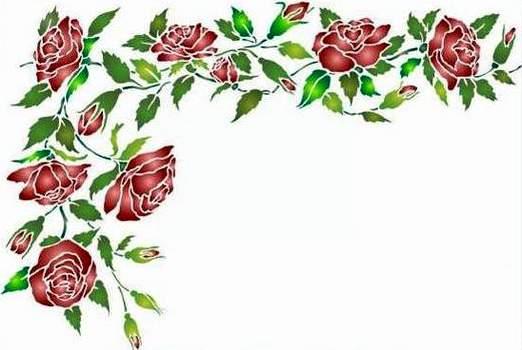 Fl062 pochoir angle de roses style pochoir 1