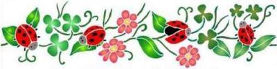 Fl081 pochoir frise de coccinelles et fleurs style pochoir 1