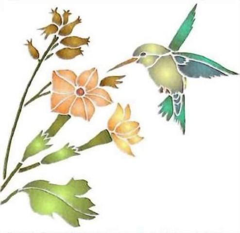 Fl116 pochoir fleur frise d hibiscus style pochoir 1