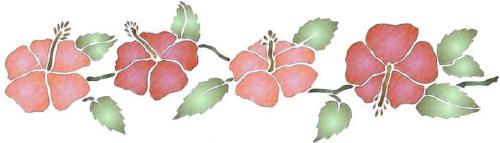 Fl117 pochoir frise hibiscus style pochoir 1