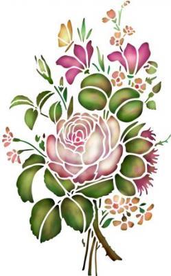 Fl1235 pochoir fleur bouquet fleurs pivoines style pochoir
