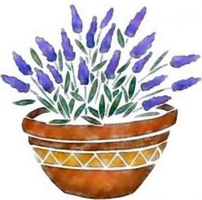 Fl138 pochoir fleur lavande en pot style pochoir