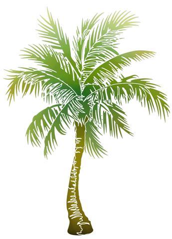 Fl14002 palmier oriental pochoir mural style pochoir
