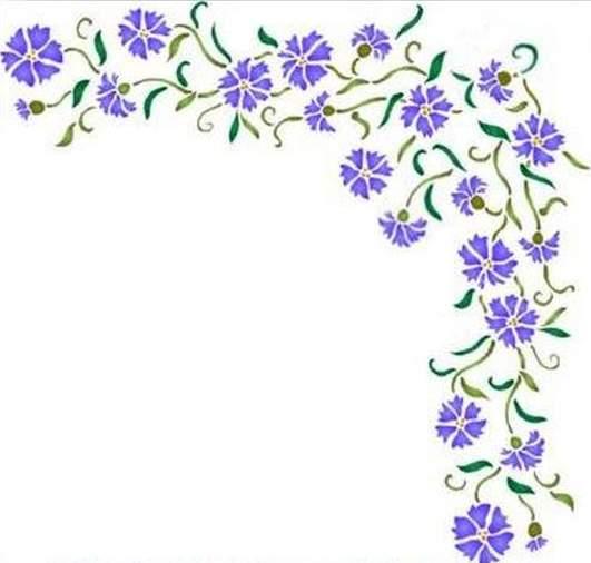 Fl158 pochoir fleur angle de bleuets style pochoir 1