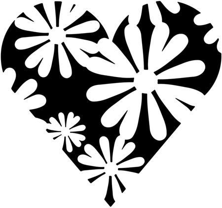 Fl1608 pochoir coeur en fleurstyle pochoir