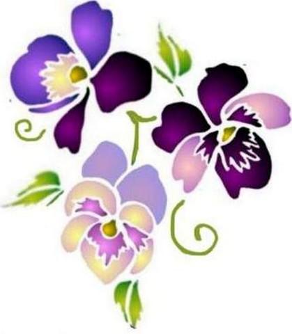 Fl171 pochoir fleur 3 pensees style pochoir 1