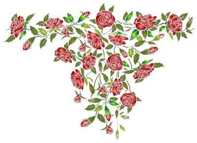 Fl177 pochoir retombee de roses style pochoir