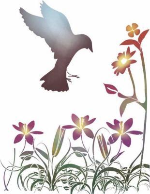 Fl1802 pochoir fleurs de lys et oiseau