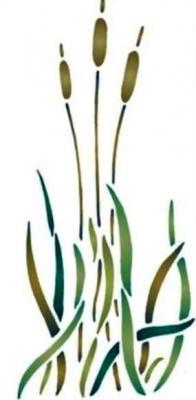 Fl202 pochoir fleur 3 roseaux style pochoir