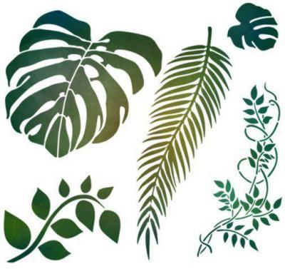 Fl6984 feuilles exotiques pochoir feuillages monstera