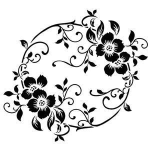 Fl88256 fleurs baroques pochoir forme cercle style pochoir