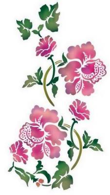Flsp2119 pochoir fleurs baroques style pochoir