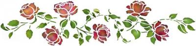 Frise roses anciennesen pochoir style pochoir