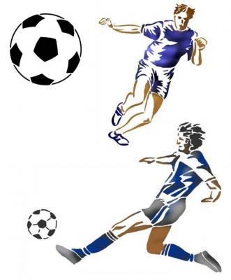 Kit pochoirs foot ballons de foot et footballeurs promotion style pochoir