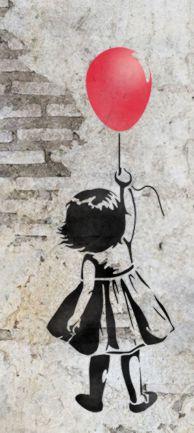 Mur brique petite fille au ballon rouge pochoir a peindre mon artisane style pochoir per37795 street art tag