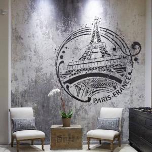 Mur interieur peint au pochoir tour eiffel paris