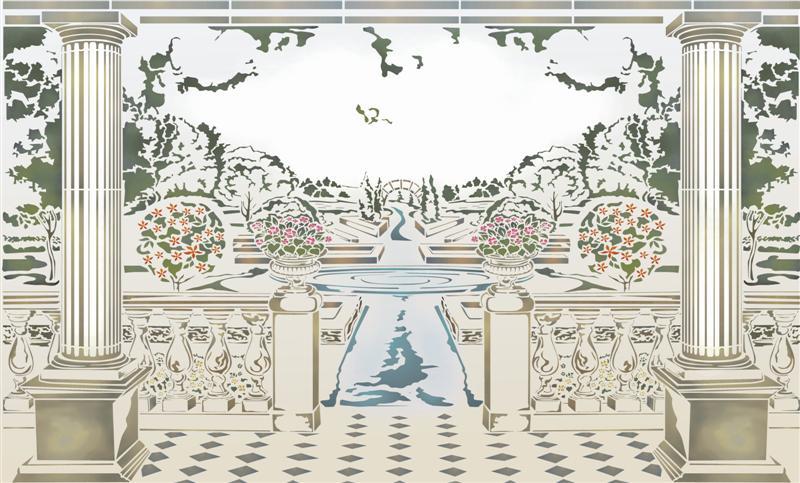 Pochoir Fresque Murale Jardin Anglais Végétation